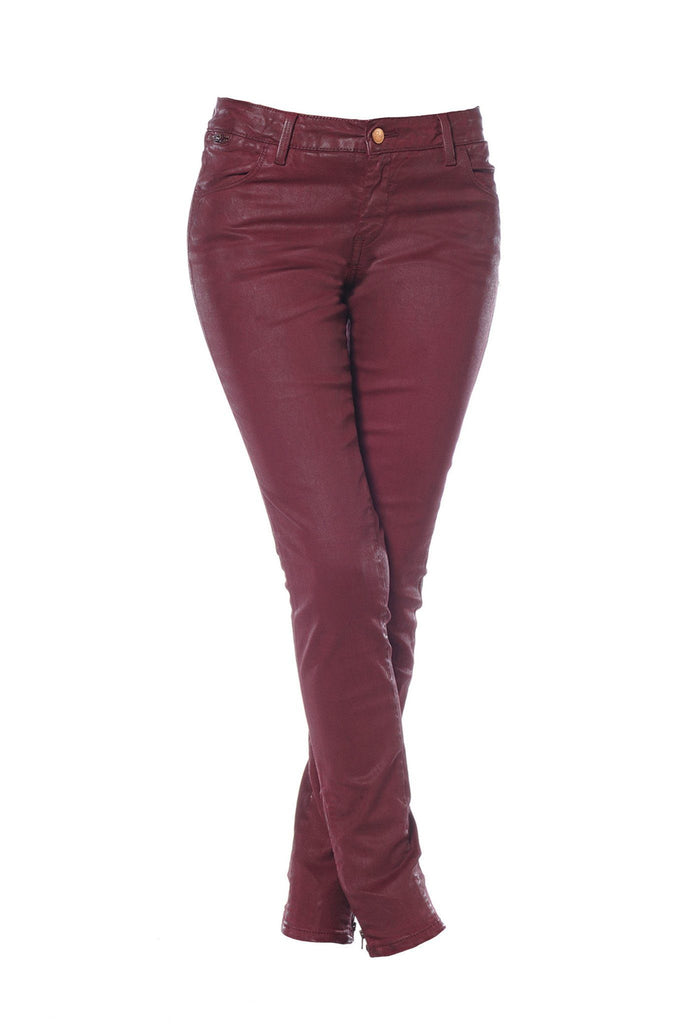 Burgundy red wax sheen jeans by Reiko at Peek Boutique