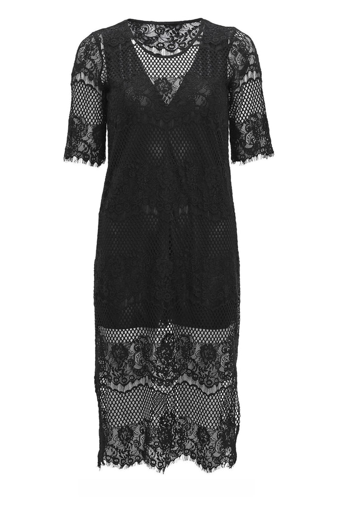 Bohemian style layered lace black dress with 3/4 length sleeves by Bruuns Bazaar at Peek Boutique