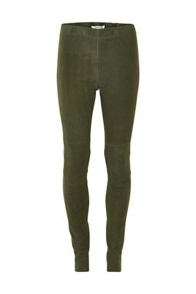 Forest green 100% suede tight Autumn leggings by Gestuz at Peek Boutique