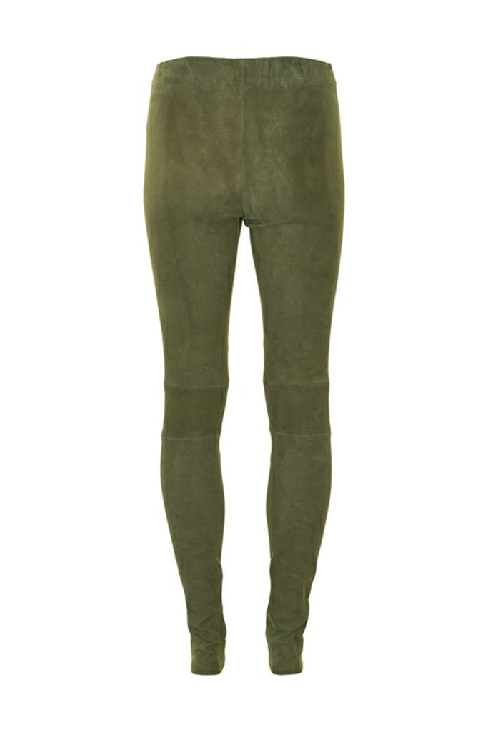 Back of forest green 100% suede tight Autumn leggings by Gestuz at Peek Boutique