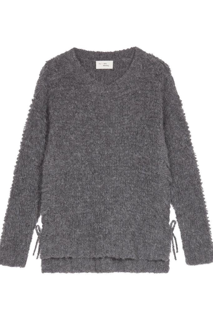 Alpaca wool thick grey knit jumper with slight lace up sides by My Sunday Morning at Peek Boutique