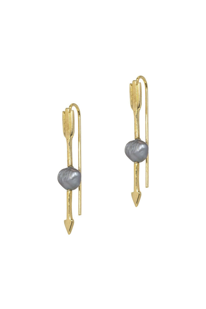 Delicate dangly gold arrow earrings with a grey pearl by anna + nina at peek boutique