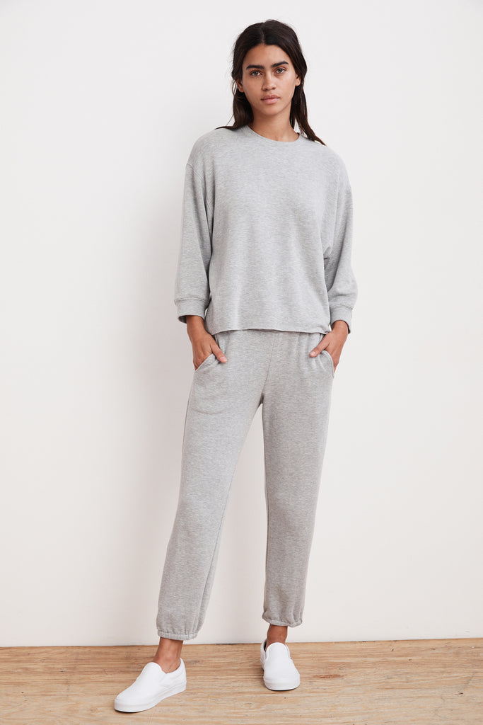Your new go to comfies from Velvet in the softest fleece - pair the Anelly top with the Chav bottoms - nice enough to wear out but you might be tempted to stay in!