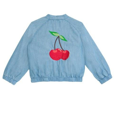 Sweet, lightweight cotton chambray denim baby bomber jacket with embroidered cherry detail on the back.  Hand wash or cold gentle machine wash. Turn inside out before washing. Do not tumble dry. 100% cotton.