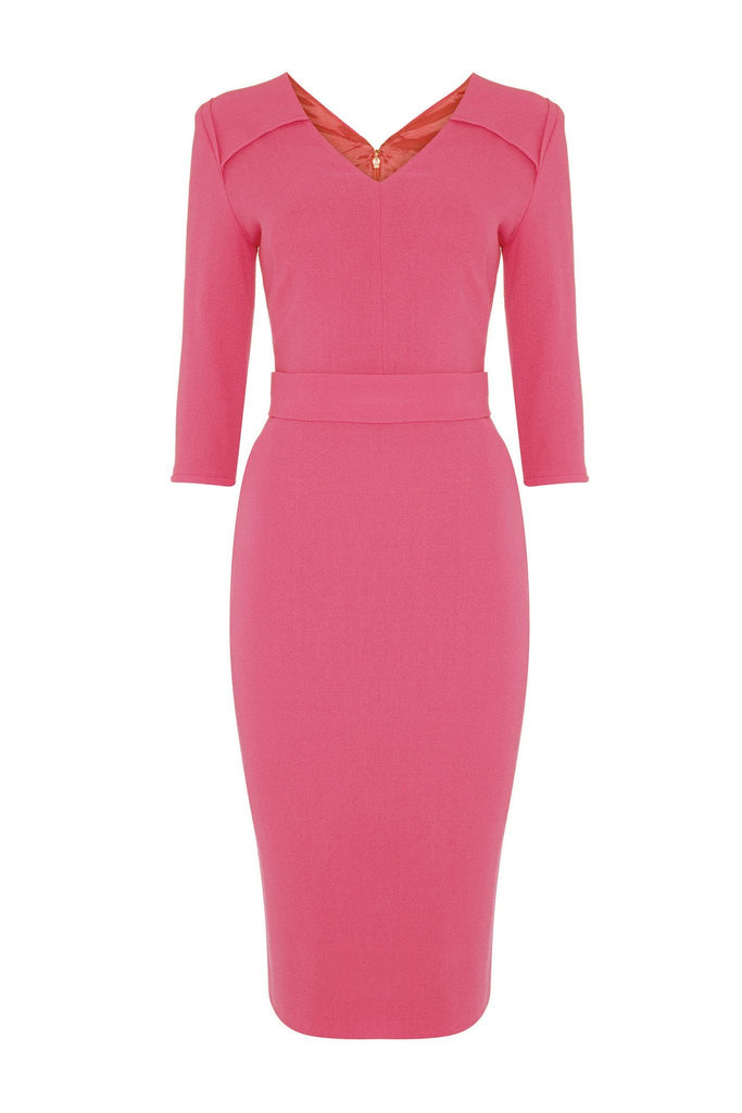 3/4 length pink formal fitted dress branded Goat at Peek Boutique