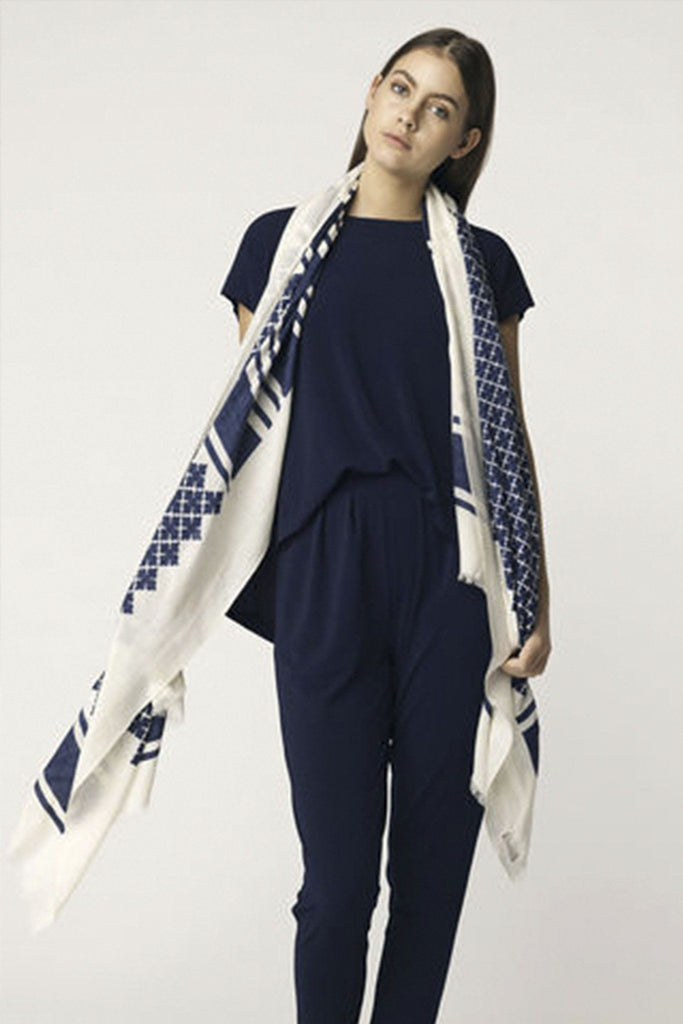 Navy and cream geometric printed light weight scarf branded Malene Birger at Peek Boutique