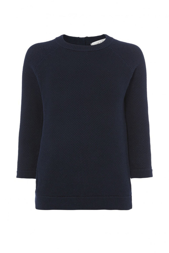 Navy knit 3/4 length sleeved sweater branded Goat at Peek Boutique
