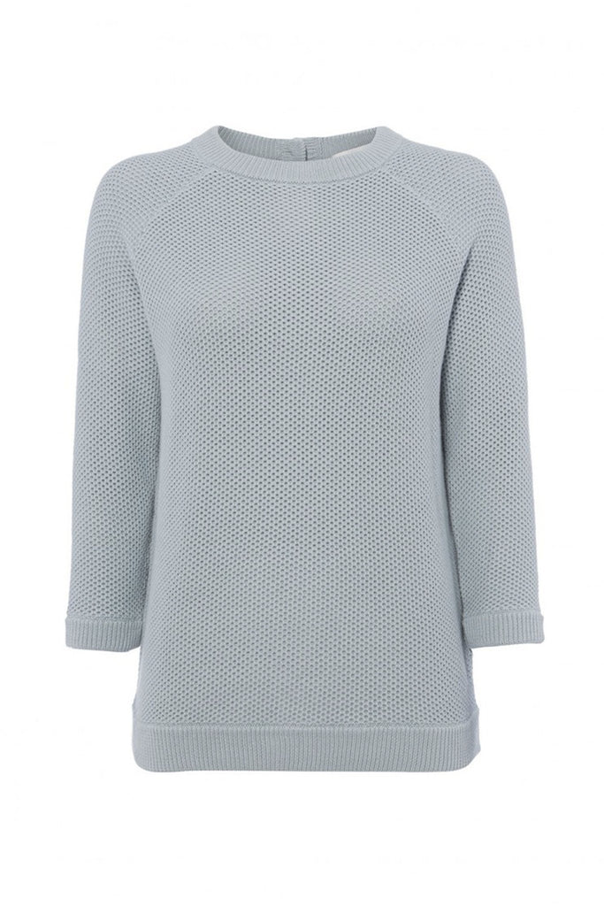 Pastel blue knit 3/4 length sleeved sweater branded Goat at Peek Boutique