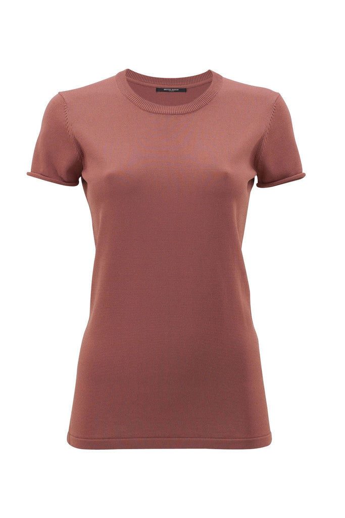 Women's copper round neck t-shirt branded Bruuns Bazaar at Peek Boutique