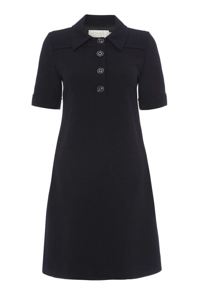Women's formal dark navy shirt dress with collar and button detail branded Goat at Peek Boutique