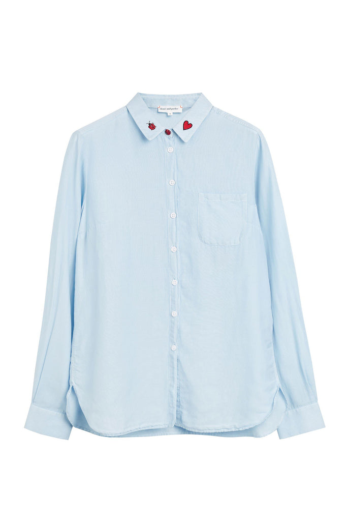 Expertly tailored, this pale blue classic shirt is crafted from a natural cotton-silk blend. Featuring playful motifs on the collar and a shapely shirt-style hem, this stylised wardrobe staple will add a fresh new option to your everyday looks.