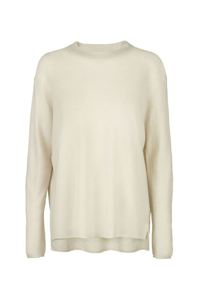 Women's light weight cream backless sweater branded Samsoe & Samsoe at Peek Boutique