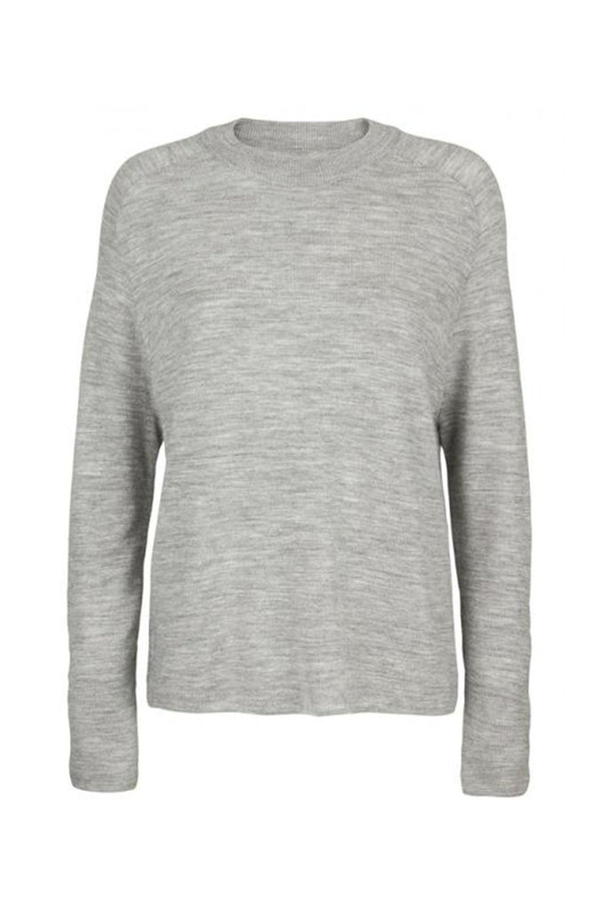 Women's 100% grey wool long sleeve relaxed sweater branded Samsoe & Samsoe at Peek Boutique