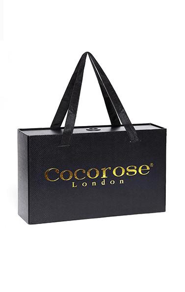 Coco rose black sustainable box with fabric handles for shoe packaging