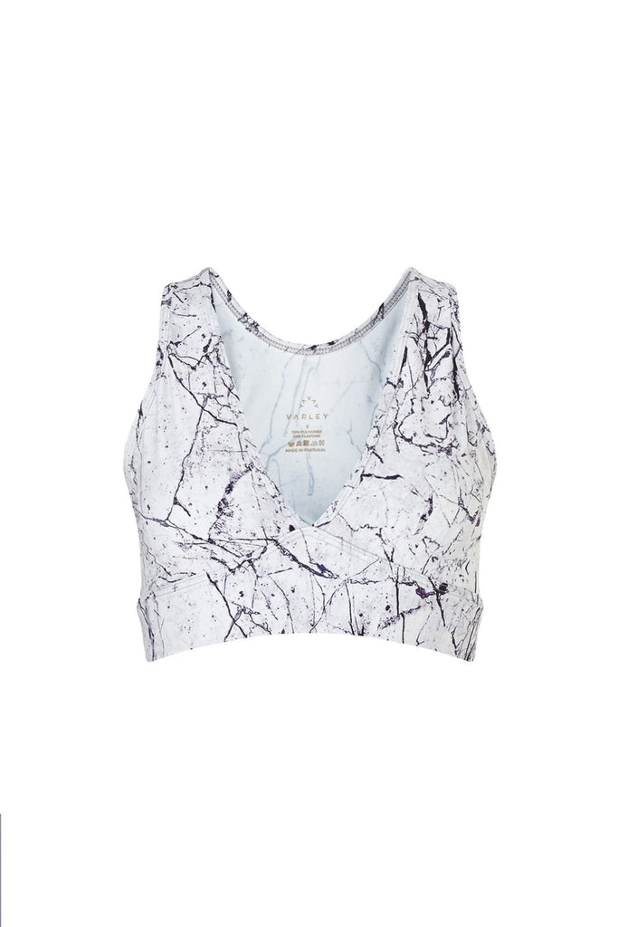 Women's white marble print activewear v neck crop top branded Varley at Peek Boutique