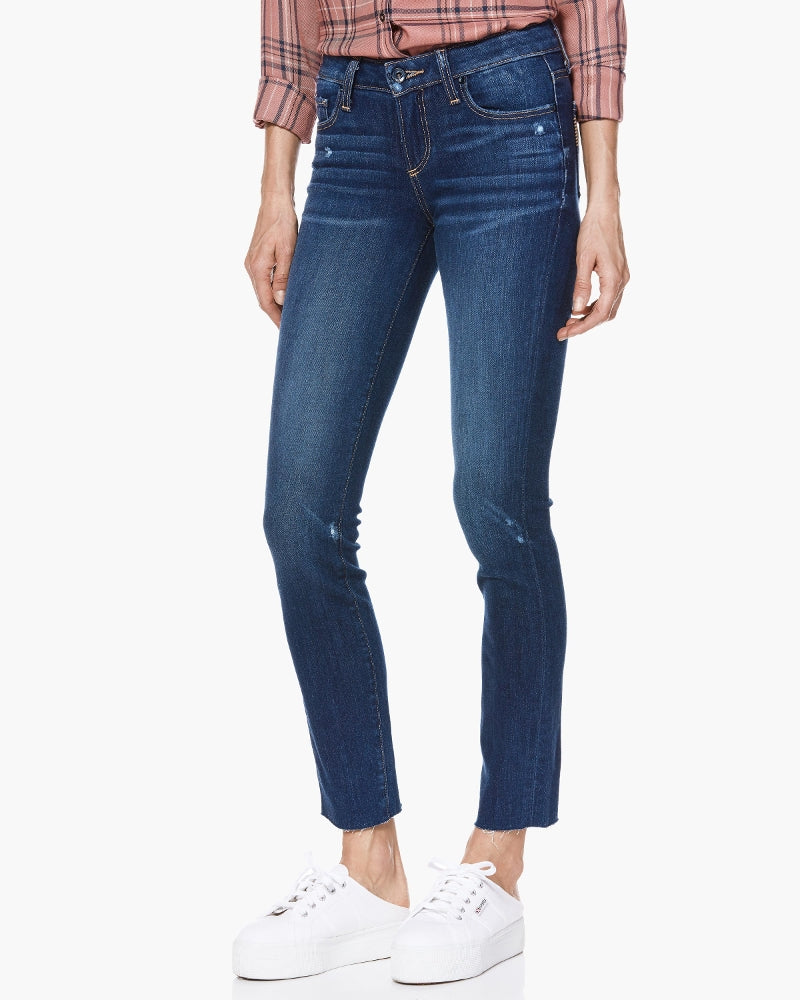 Skyline Skinny Crop is Paige's classic skinny mid-rise style, cropped in length for an easy fit. Cut from denim that provides super stretch, this pair is featured in a vibrant wash detailed with bright finishes and on-trend raw hems.