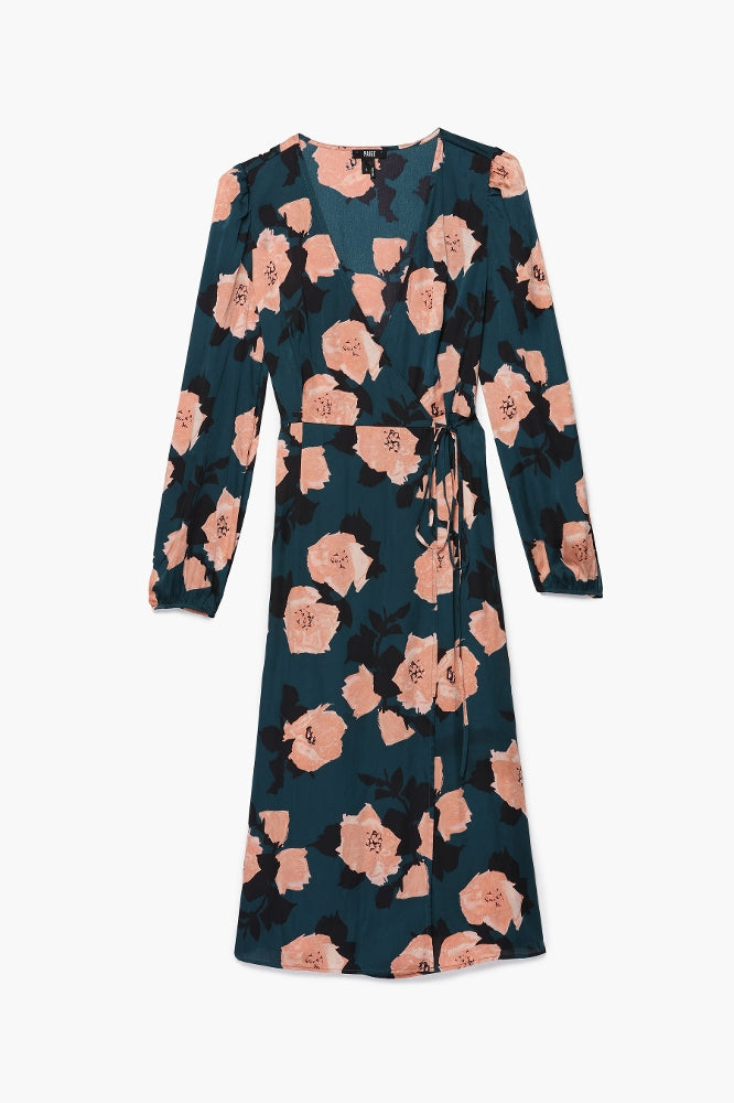The Fontaine Midi Dress is made for the modern romantic. Cut from poly satin, this true wrap dress is lightweight with a silky texture. This versatile piece features slight puff sleeves and a pink rose print. Wear it as a dress or layer it for a more laid-back look.