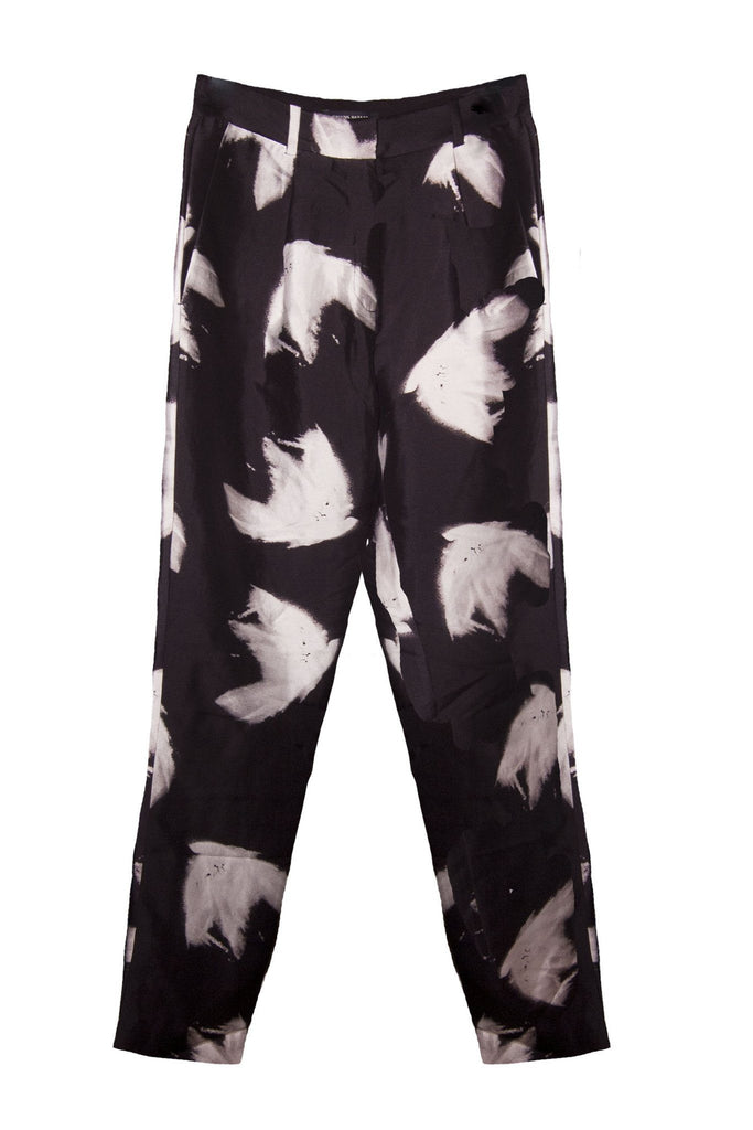 Women's silky black feather print trousers branded Bruuns Bazaar at Peek Boutique