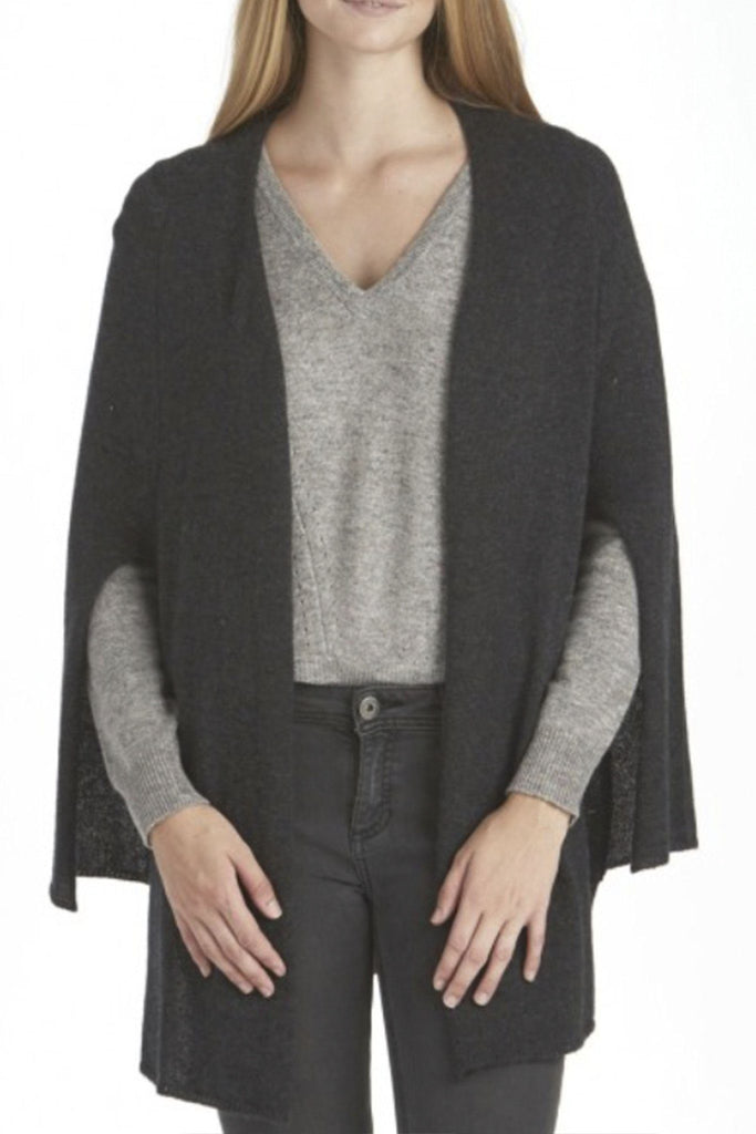 Women's 100% cashmere dark grey cape cardigan branded 27 miles at Peek Boutique