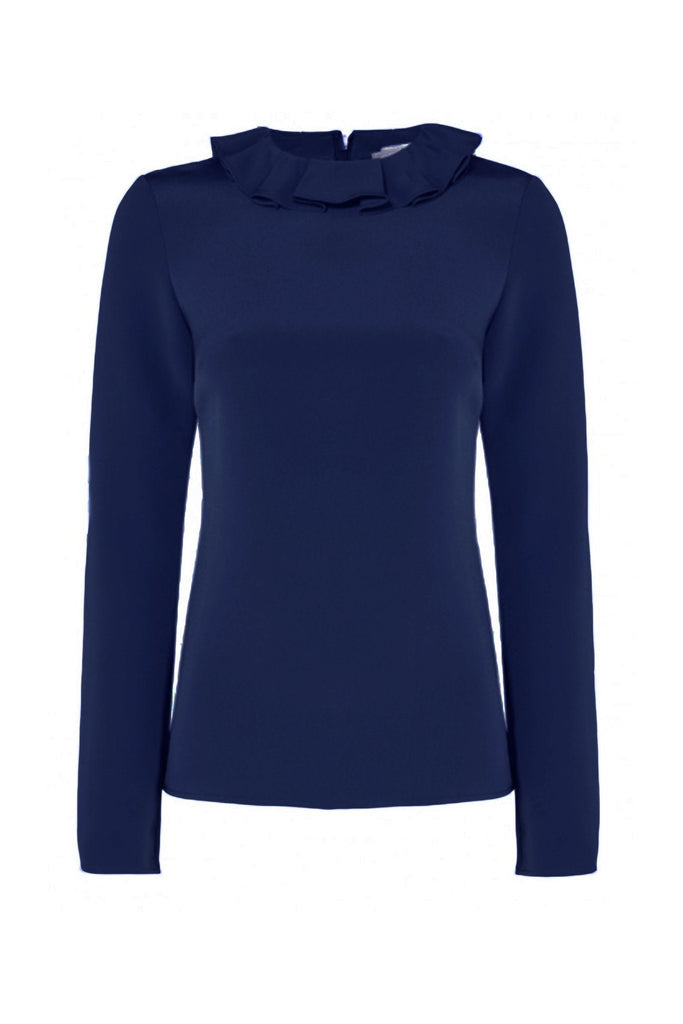 Women's dark navy long sleeve blouse with frill neck detail detail branded Goat at Peek Boutique