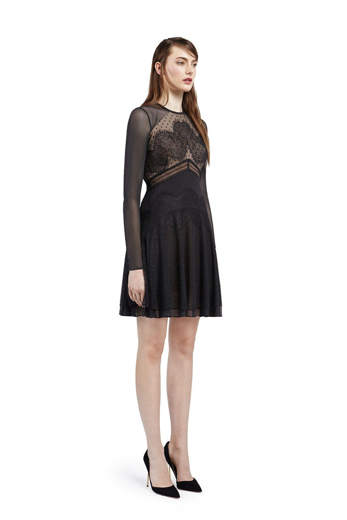 Women's black and nude long sleeve, layered lace dress for formal occasions