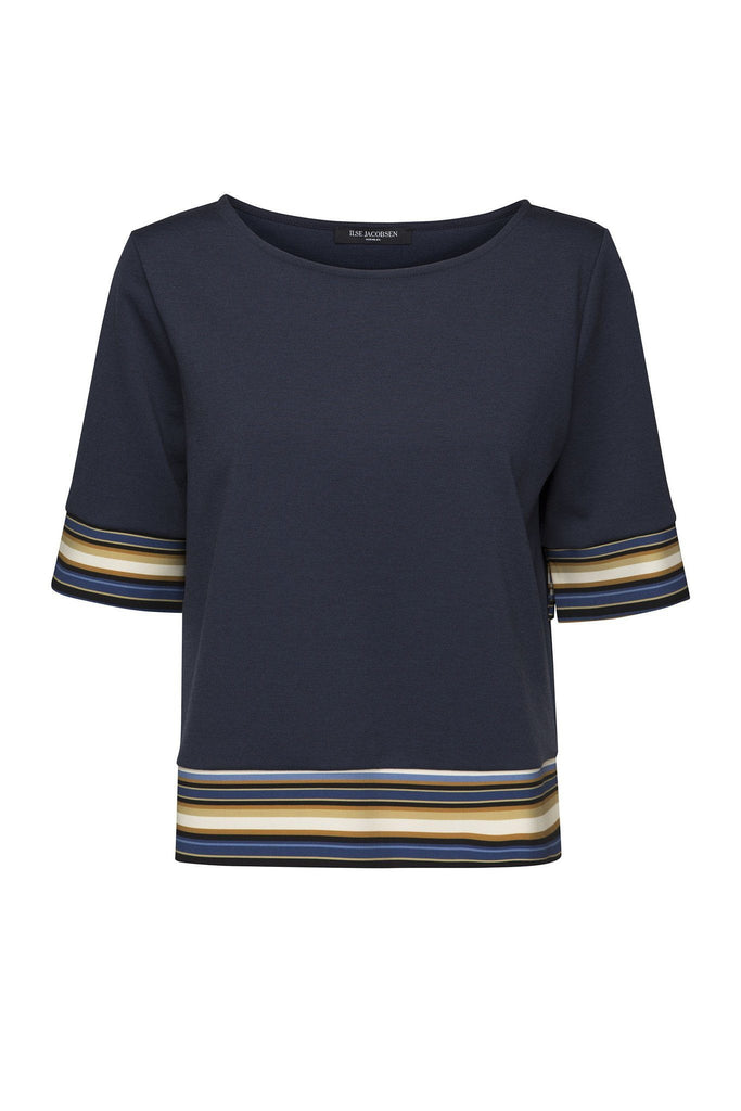 Women's dark navy oversized slightly cropped top with colourful stripe detail on the sleeves branded Ilse Jacobsen at Peek Boutique