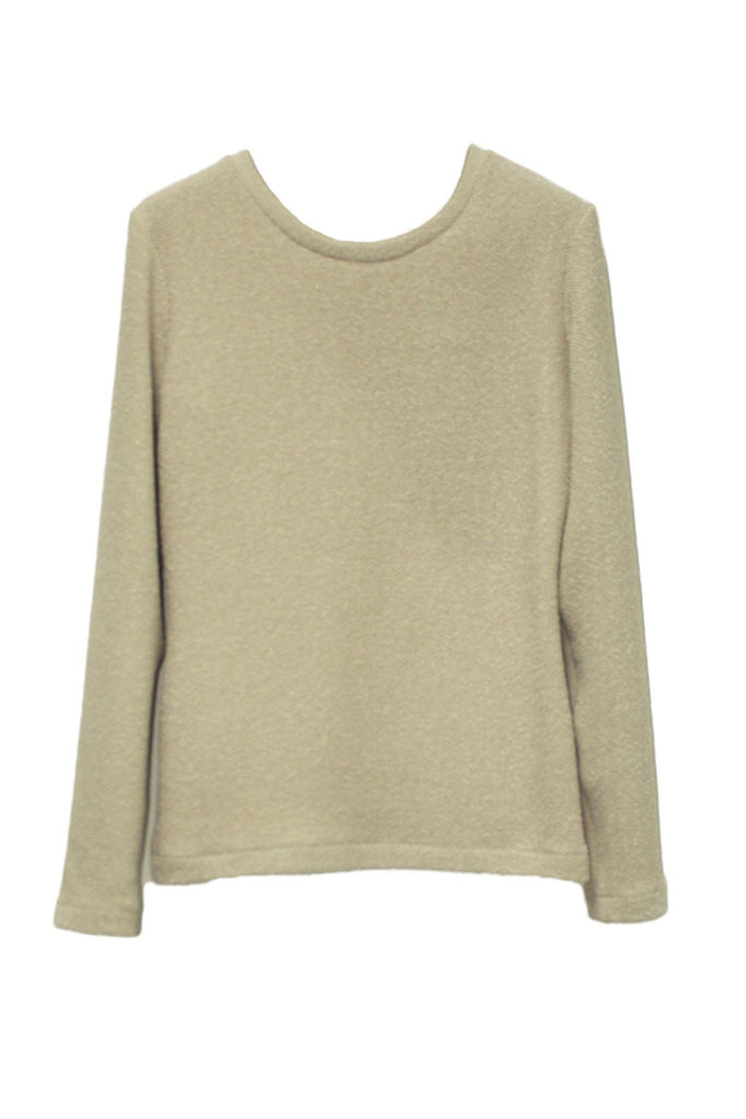 Women's light beige round neck sweater branded Marcha Huskes at Peek Boutique