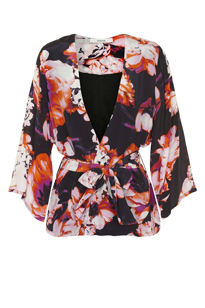 Summery floral print light weight kimono with tie detail branded Gestuz at Peek Boutique