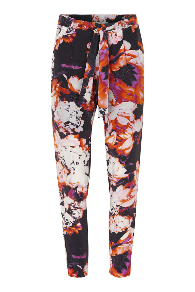 Summery floral print light weight trousers with tie detail branded Gestuz at Peek Boutique