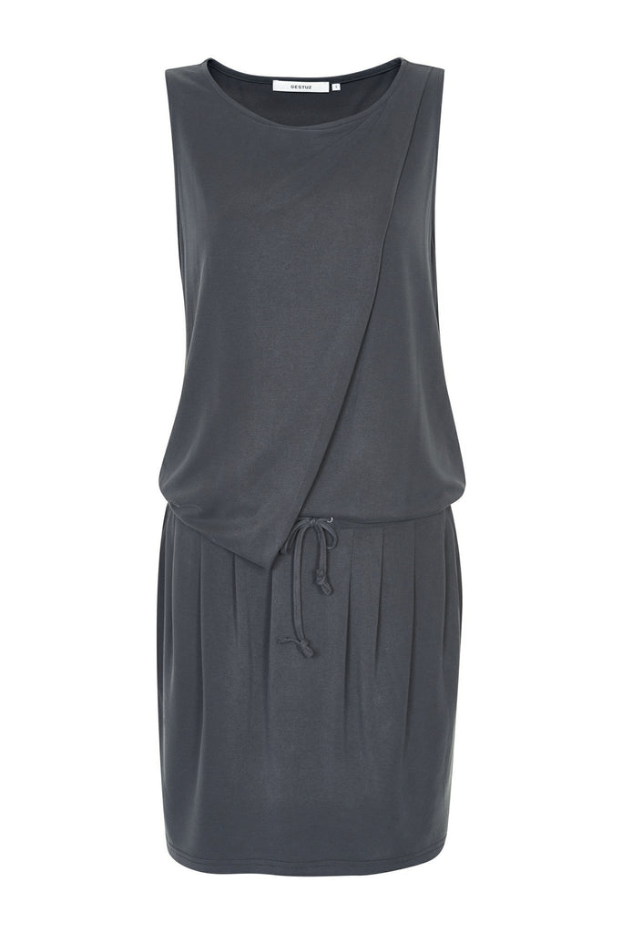 Women's relaxed charcoal drawstring dress by Gestuz at Peek Boutique