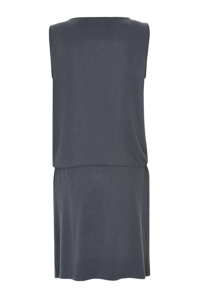 Rear view of women's relaxed charcoal drawstring dress by Gestuz at Peek Boutique