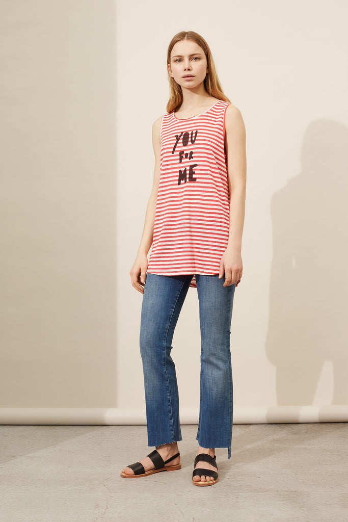 This cheeky take on conversational wear features a playful 'You For Me' slogan. Crafted from 100% linen, this statement tank also features coral and white Breton stripes, combining contemporary details with a traditional and timeless style for an unexpected new-season twist.