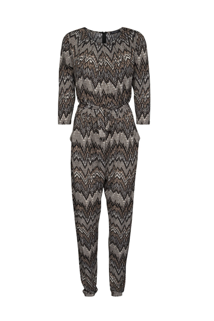 Women's zig zag brown mix print, light weight jumpsuit branded Ilse Jacobsen available at Peek Boutique
