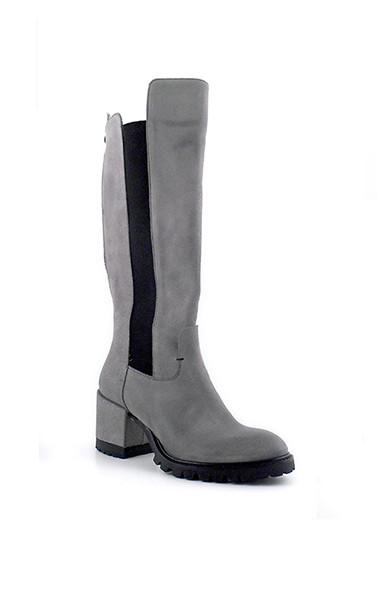 Women's grey stretch knee high riding boots branded Josephine available at Peek Boutique