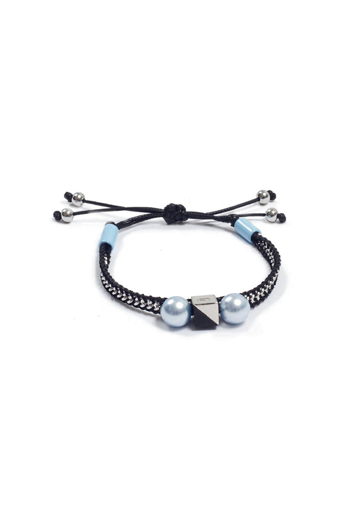 Black and baby blue metallic friendship bracelet by Nocturne at Peek Boutique