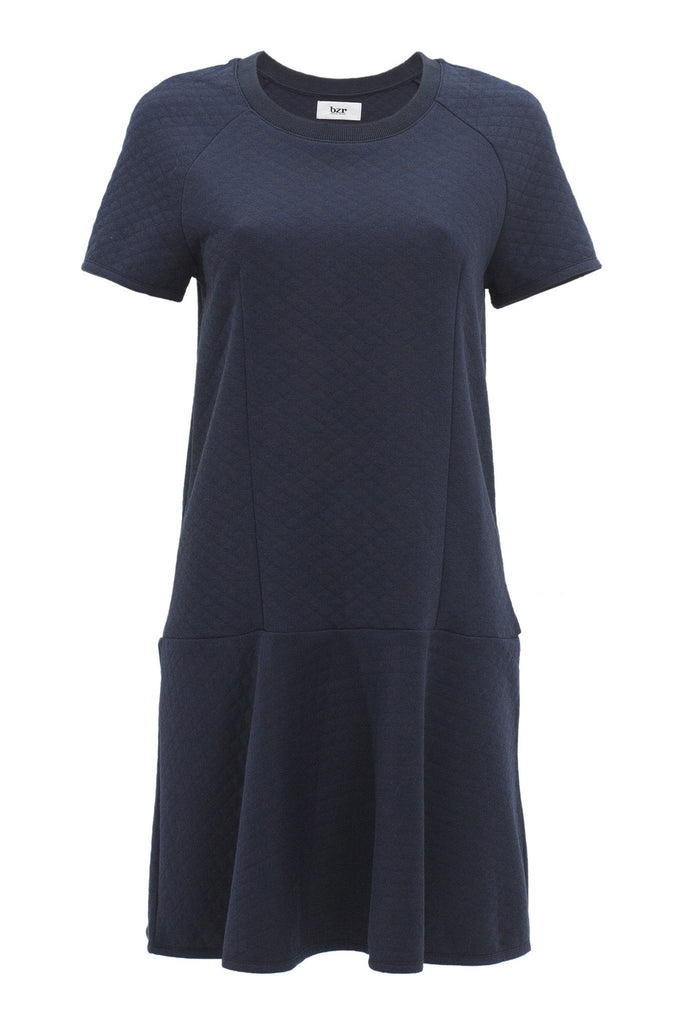 Women's navy t-shirt dress with a flair, branded Bruuns Bazaar available at Peek Boutique