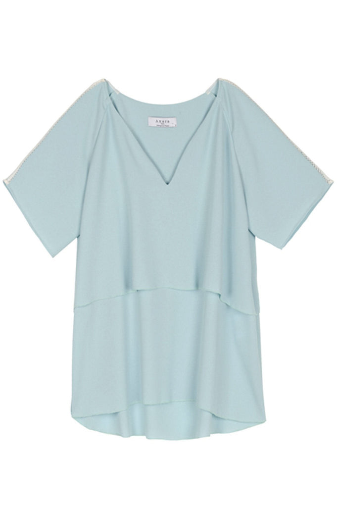 Summery baby blue pastel layered top by Axara at peek boutique