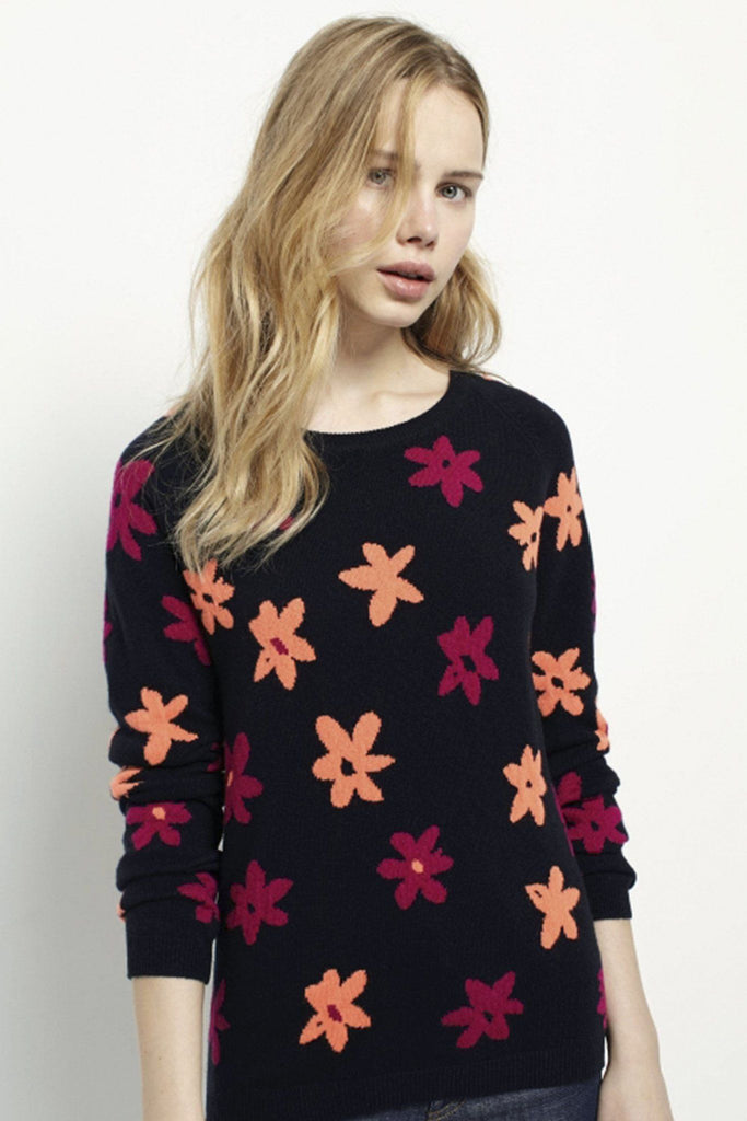 Flower intarsia sweater
