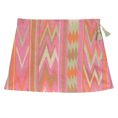 Pretty but practical zig zag print skort. Wear with matching Zig Zag Jumper when the wind gets up.  Hand wash or cold gentle machine wash. Turn inside out before washing. Do not tumble dry. 100% viscose.