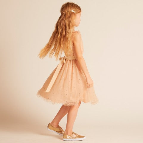Wild & Gorgeous Gold Dot Christina Dress Peach