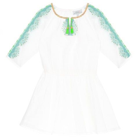 Wild & Gorgeous folk dress in white Relaxed drop waist white cotton dress with vibrant turquoise and green embroidered sleeve detail with lightly scattered gold sequins.