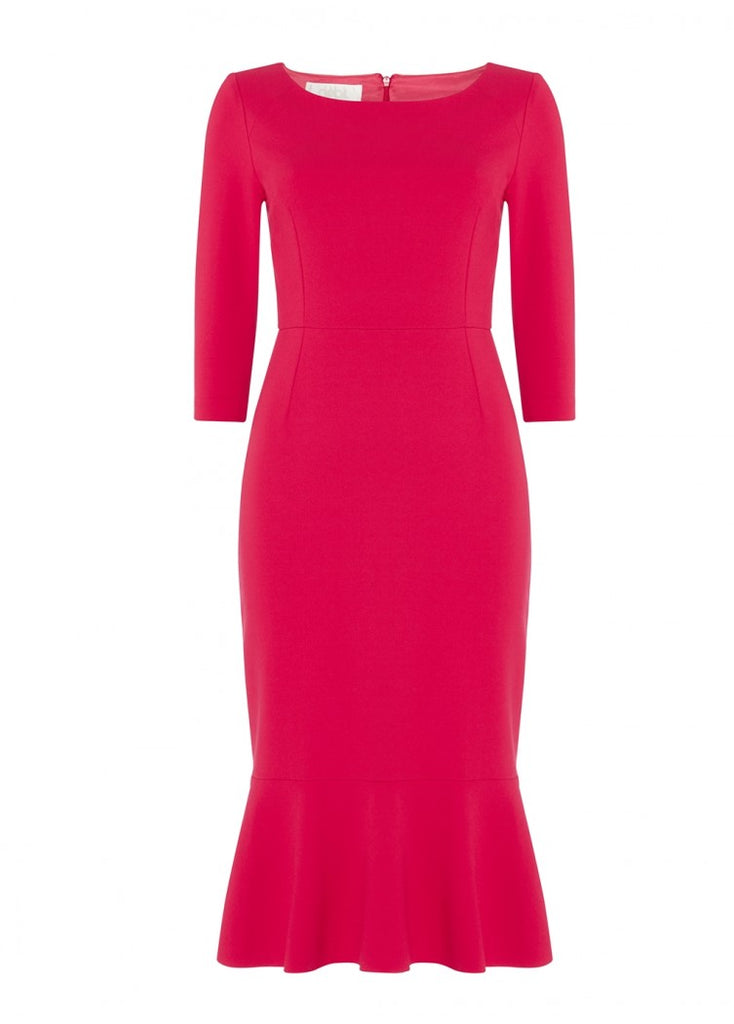 The Glory dress in vibrant raspberry is made from structured yet easy-to-wear and comfortable jersey fabric – a composition new to Goat this season. This round neck pencil dress has been designed to fit and flatter, with a beautifully feminine flounce hem. Smart enough for the boardroom or an evening event and comfortable enough to wear from day to night.