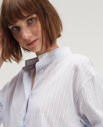 Gorgeous 100% cotton shirt from Chloe Stora with blue, grey and white stripes.