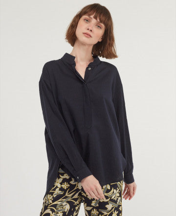 Effortless soft 100% cotton navy shirt from Chloe Stora.