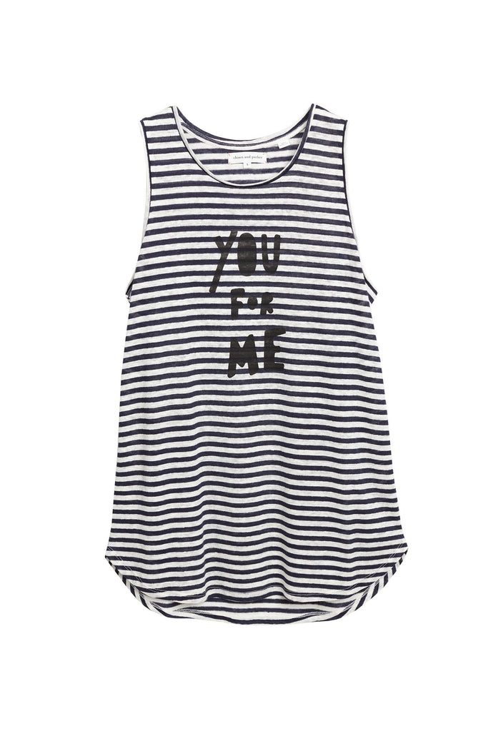 This cheeky take on conversational wear features a playful 'You For Me' slogan. Crafted from 100% linen, this statement tank also features navy and white Breton stripes, combining contemporary details with a traditional and timeless style for an unexpected new-season twist.