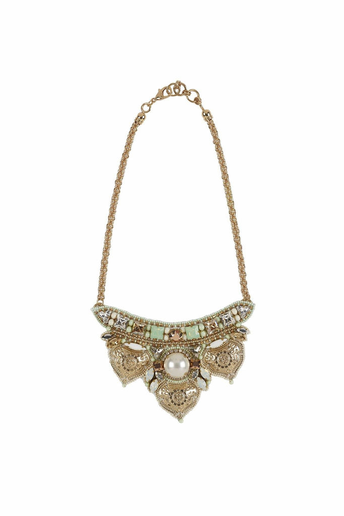 Gold embellished statement necklace branded Buba London at Peek Boutique