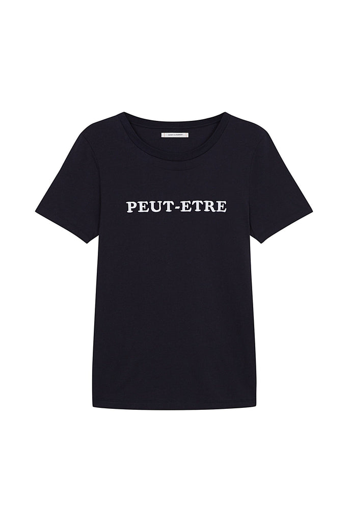 "With the season's key slogan ""Peut-Etre"" (meaning maybe) this 100% navy cotton t-shirt taps into the season's flirty French mood. 100% cotton Classic fit, crew neck Made in Portugal Navy, white letter Embroidery Model is 5'10"" and wears a size small"