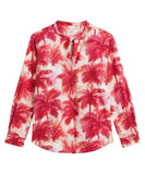 Carta Red Palm Print Blouse
