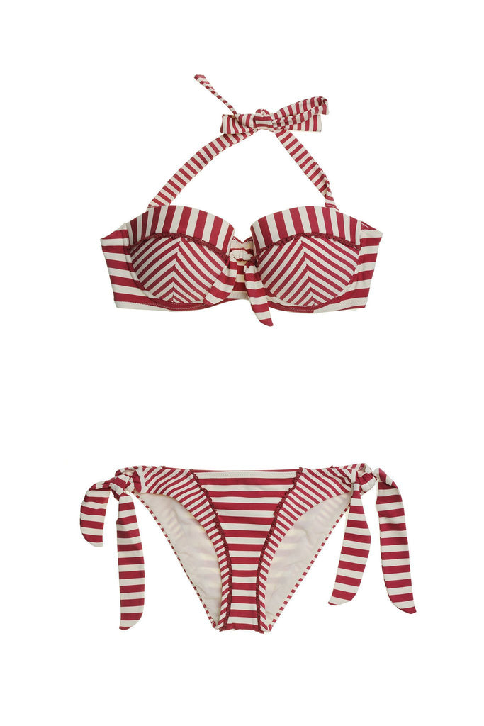 Red and white striped halter neck bikini branded Paolita at Peek Boutique