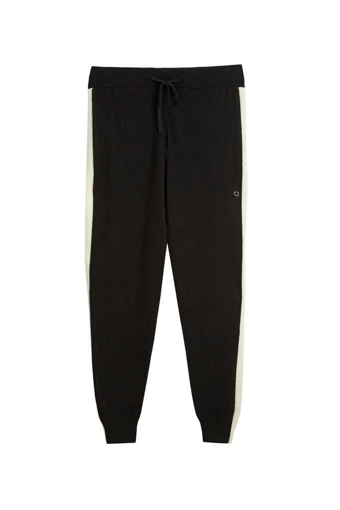 Elevate your athleisure options with this pair of black cashmere track pants. Spun from 100% Italian yarn with a cream stripe to the side, this ultra-soft pair was made for wearing with a t-shirt and the matching hoodie for the ultimate in relaxed luxury.